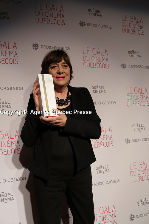 Lea Pool, winner best director for  La passion d'Augustine<br /> at the Gala du cinema Quebecois, March 20, 2016<br /> <br /> Photo : Pierre Roussel - Agence Quebec Presse