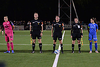 Referees pictured at the line up before a female soccer game between  Racing Genk Ladies and Royal Sporting Club Anderlecht , a delayed game from the 1st  matchday of the 2021-2022 season of the Belgian Scooore Womens Super League , tuesday 28 September 2021  in Genk , Belgium . PHOTO SPORTPIX | JILL DELSAUX