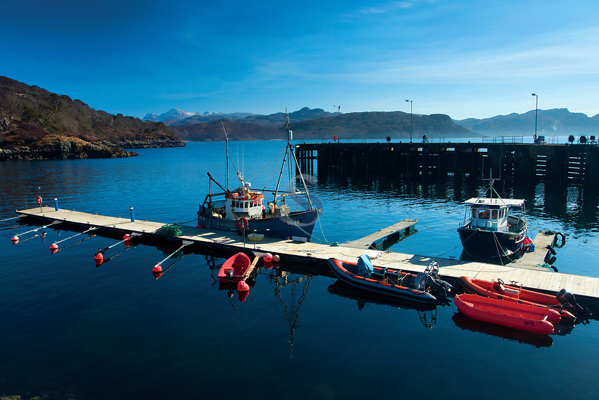 The village of Charlestown and Loch Gairloch on the North Coast 500, Wester Ross, Northwest Highlands