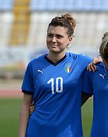 20180302 - LARNACA , CYPRUS : Italian Cristiana Girelli pictured during a women's soccer game between Italy and Wales , on friday 2 March 2018 at GSZ Stadium in Larnaca , Cyprus . This is the second game in group A for Italy and Wales during the Cyprus Womens Cup , a prestigious women soccer tournament as a preparation on the World Cup 2019 qualification duels. PHOTO SPORTPIX.BE | DAVID CATRY