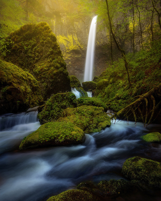 Elowah Falls after a heavy rain in Oregon's Columbia Gorge. <br /> Artist Edition: 15/100 Limited