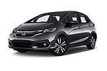Stock pictures of low aggressive front three quarter view of a 2018 Honda Jazz Exclusive 5 Door Hatchback