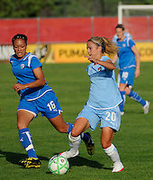 Kacey White (20) of Sky Blue FC and Angela Hucles (16) of the Boston Breakers. Sky Blue FC defeated the Boston Breakers 2-1 during a Women's Professional Soccer match at Yurcak Field in Piscataway, NJ, on May 31, 2009.