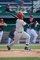 Auburn Doubledays Onix Vega (7) bats during a NY-Penn League game against the Batavia Muckdogs on June 19, 2019 at Dwyer Stadium in Batavia, New York.  Batavia defeated Auburn 5-4 in eleven innings in the completion of a game originally started on June 15th that was postponed due to inclement weather.  (Mike Janes/Four Seam Images)