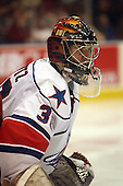 December 30th, 2007:  David Shantz (30) of the Rochester Amerks looks for the puck during the second period of play.  The Syracuse Crunch shutout the Rochester Amerks 4-0 to earn the win at Blue Cross Arena at the War Memorial in Rochester, NY.  Photo Copyright Mike Janes Photography 2007.