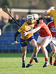 Ryan Taylor of Clare in action against Chris O Leary of Cork during their Munster Hurling League game at Cusack Park. Photograph by John Kelly.
