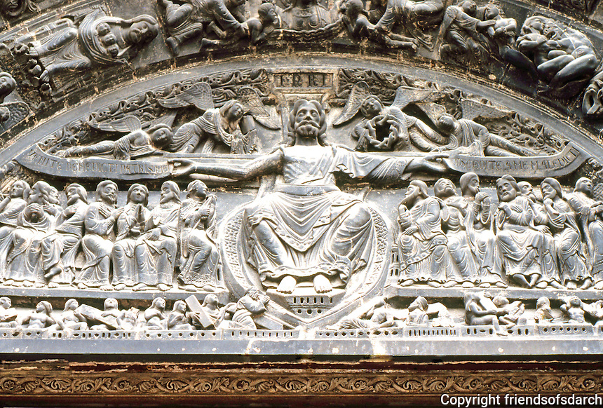 "Paris: Basilica of Saint-Denis. Tympanum, central door of West Porch. The Last Judgment, period of Suger but  ""brutally reworked in the 19th century. Photo '90. ."""
