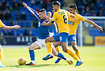 St Johnstone v Kilmarnock…31.08.19   McDiarmid Park   SPFL<br />Michael O'Halloran is closed down by Gary Dicker and Mohamed El Makrini<br />Picture by Graeme Hart.<br />Copyright Perthshire Picture Agency<br />Tel: 01738 623350  Mobile: 07990 594431