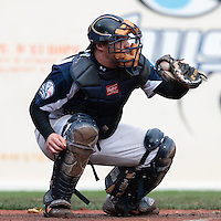 23 October 2010: Vincent Ferreira of Savigny is seen catching during Savigny 8-7 win (in 12 innings) over Rouen, during game 3 of the French championship finals, in Rouen, France.