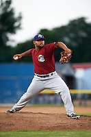 Mahoning Valley Scrappers pitcher Yoiber Marquina (36) delivers a pitch during a game against the Batavia Muckdogs on June 24, 2015 at Dwyer Stadium in Batavia, New York.  Batavia defeated Mahoning Valley 1-0 as three Muckdogs pitchers combined to throw a perfect game.  (Mike Janes/Four Seam Images)