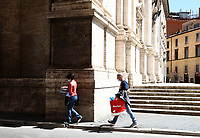 People walks in central Rome on May 4, 2020 as Italy starts to ease its lockdown, during the countrys lockdown aimed at curbing the spread of the COVID-19 infection, caused by the novel coronavirus.<br /> UPDATE IMAGES PRESS/Isabella Bonotto