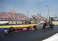 May 1, 2011; Baytown, TX, USA: NHRA top fuel dragster driver Larry Dixon (near) and Tony Schumacher during the Spring Nationals at Royal Purple Raceway. Mandatory Credit: Mark J. Rebilas-