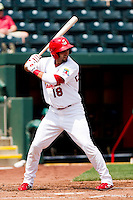 Alex Castellanos (18) of the Springfield Cardinals at bat during a game against the Midland RockHounds on April 19, 2011 at Hammons Field in Springfield, Missouri.  Photo By David Welker/Four Seam Images