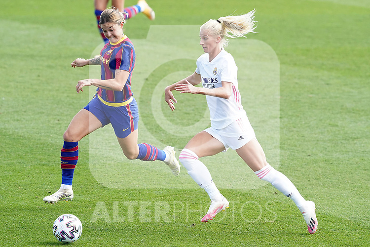 First official match and first classic in the history of women's Real Madrid.<br /> Real Madrid's Sofia Jakobsson (r) and FC Barcelona's Mapi Leon during Spanish Female League match. October 4,2020. (ALTERPHOTOS/Acero)