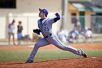New York University Violets relief pitcher Eli Edwards (25) delivers a pitch during a game against the Edgewood Eagles on March 14, 2017 at Terry Park in Fort Myers, Florida.  NYU defeated Edgewood 12-7.  (Mike Janes/Four Seam Images)