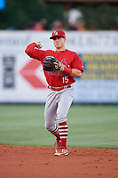Palm Beach Cardinals second baseman Andy Young (15) throws to first base during a game against the Charlotte Stone Crabs on April 21, 2018 at Charlotte Sports Park in Port Charlotte, Florida.  Charlotte defeated Palm Beach 5-2.  (Mike Janes/Four Seam Images)
