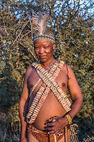 Africa, Botswana, Khwai, The Lodge, Feline Fields, edge of the Kalahari desert. Kalahari bush people, Ju'hoansi tribe. Hunter-gatherer !Kung people, part of San tribe. Tribal shaman.