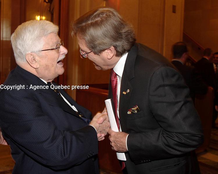 Montreal (Qc) CANADA -October 9 2007 -<br /> <br /> Paul Guerin-Lajoie , Albert Millaire,<br /> Gala des Grands Montrealais a l'Hotel de Ville de Montreal<br /> <br /> <br /> <br /> <br /> photo : Pierre Roussel /  Images Distribution
