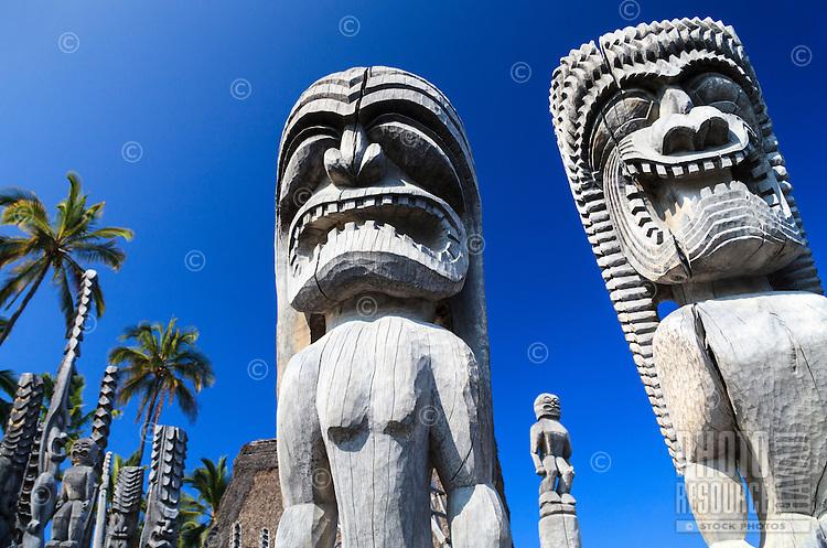Wooden carvings at Pu'uhonua O Honaunau (or City of Refuge) National Historical Park, South Kona, Hawai'i Island.