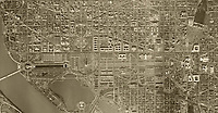 historical aerial photo map of Washington, DC,showing the Capital Mall from the Lincoln Memorial to the US Capitol building and Union Station, 1949