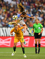 Seattle, WA - Thursday July 27, 2017: Elise Kellond-Knight, Margaret Purce during a 2017 Tournament of Nations match between the women's national teams of the United States (USA) and Australia (AUS) at CenturyLink Field.