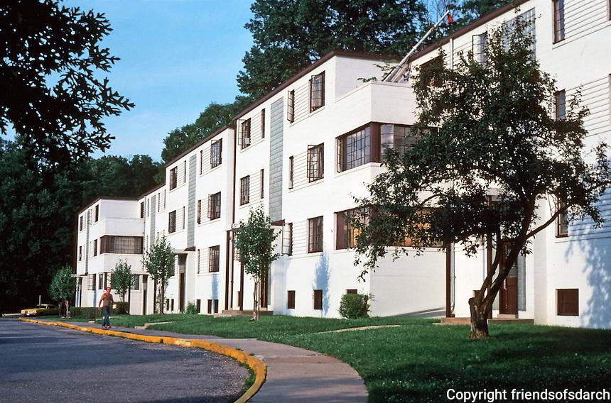Greenbelt:  Apartment Units, Town Center 1937.  Art Deco style. Photo '85.