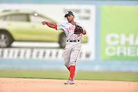 Hagerstown Suns second baseman Wilmer Difo #6 warms up between innings during a game against the Asheville Tourists at McCormick Field September 8, 2014 in Asheville, North Carolina. The Tourists defeated the Suns 16-7. (Tony Farlow/Four Seam Images)