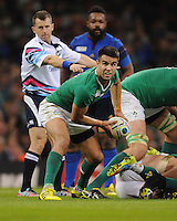 Conor Murray of Ireland passes during Match 39 of the Rugby World Cup 2015 between France and Ireland - 11/10/2015 - Millennium Stadium, Cardiff<br /> Mandatory Credit: Rob Munro/Stewart Communications