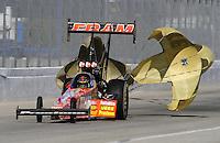 Nov 13, 2010; Pomona, CA, USA; NHRA top fuel dragster driver Cory McClenathan during qualifying for the Auto Club Finals at Auto Club Raceway at Pomona. Mandatory Credit: Mark J. Rebilas-