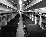 Pittsburgh PA: View of the inside of a railroad passenger car at Pittsburgh's Penn Station.