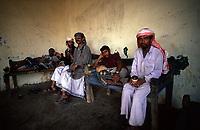 Yemen,Wadi Moor, Men have their rest in a local bar