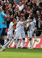 Pictured: (L-R) Scott Sinclair, Mark Gower, Leroy Lita, Nathan Dyer and Ashley Williams of Swansea City. Saturday 17 September 2011<br /> Re: Premiership football Swansea City FC v West Bromwich Albion at the Liberty Stadium, south Wales.