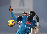 Football: Super Cup Final Juventus vs Napoli at Mapei Stadium in Reggio Emilia, on January 20,  2021.<br /> Napoli's Tiemoue Bakayoko (in front of) in action with Juventus' Arthur (back) during Italian the Super Cup Final match between Juventus and Napoli at Mapei Stadium in Reggio Emilia, on January 20,  2021.<br /> UPDATE IMAGES PRESS/Isabella Bonotto