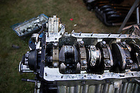 Aug. 17, 2013; Brainerd, MN, USA: Detailed view of damage to the engine of NHRA funny car driver Bob Bode following qualifying for the Lucas Oil Nationals. Mandatory Credit: Mark J. Rebilas-