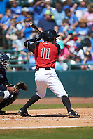 Frainyer Chavez (11) of the Hickory Crawdads at bat against the Charleston RiverDogs at L.P. Frans Stadium on May 13, 2019 in Hickory, North Carolina. The Crawdads defeated the RiverDogs 7-5. (Brian Westerholt/Four Seam Images)