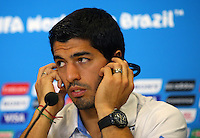 Luis Suarez of Uruguay during a press conference ahead of his sides Group D fixture vs Italy tomorrow