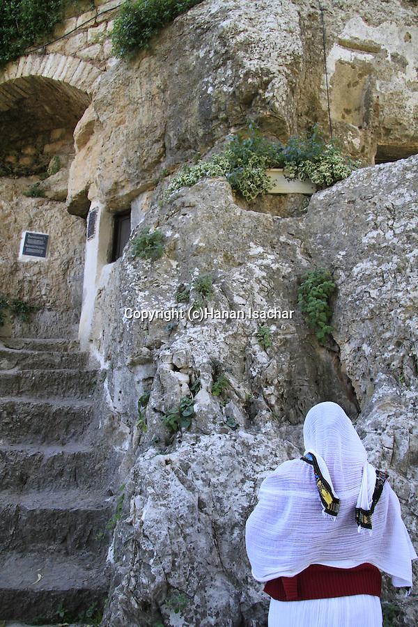 Israel, Jerusalem mountains, a prayer at the Monastery of St. John in the Desert