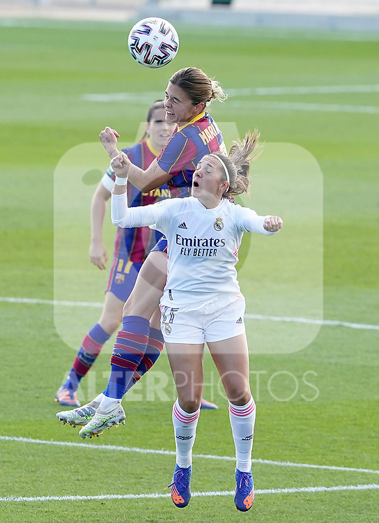 First official match and first classic in the history of women's Real Madrid.<br /> Real Madrid's Marta Cardona (r) and FC Barcelona's Mariona Caldentey during Spanish Female League match. October 4,2020. (ALTERPHOTOS/Acero)