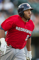 Oklahoma City RedHawks first baseman Jon Singleton (23) rounds first base during the Pacific Coast League baseball game against the Round Rock Express on July 9, 2013 at the Dell Diamond in Round Rock, Texas. Round Rock defeated Oklahoma City 11-8. (Andrew Woolley/Four Seam Images)