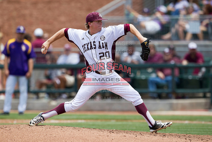Texas A&M Aggies pitcher Jason Jester (20) delivers a pitch to the plate against the LSU Tigers in the NCAA Southeastern Conference baseball game on May 11, 2013 at Blue Bell Park in College Station, Texas. LSU defeated Texas A&M 2-1 in extra innings to capture the SEC West Championship. (Andrew Woolley/Four Seam Images).