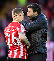 Lincoln City manager Danny Cowley, right, with Lincoln City's Harry Anderson prior to the game<br /> <br /> Photographer Chris Vaughan/CameraSport<br /> <br /> The EFL Sky Bet League Two - Lincoln City v Newport County - Saturday 22nd December 201 - Sincil Bank - Lincoln<br /> <br /> World Copyright © 2018 CameraSport. All rights reserved. 43 Linden Ave. Countesthorpe. Leicester. England. LE8 5PG - Tel: +44 (0) 116 277 4147 - admin@camerasport.com - www.camerasport.com
