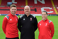 Lincoln City Women's manager Richard Cooper, centre, along with Lincoln City captain Lee Frecklington, left, and Lincoln City Women's captain Chloe Brock-Taylor during a press conference at Sincil Bank Stadium<br /> <br /> Photographer Chris Vaughan/CameraSport<br /> <br /> Lincoln City Women - Press conference - Tuesday 18th June 2019 - Sincil Bank - Lincoln<br /> <br /> World Copyright © 2019 CameraSport. All rights reserved. 43 Linden Ave. Countesthorpe. Leicester. England. LE8 5PG - Tel: +44 (0) 116 277 4147 - admin@camerasport.com - www.camerasport.com