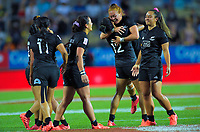 New Zealand Black Ferns celebrate winning the women's cup final against Canada on day two of the 2020 HSBC World Sevens Series Hamilton at FMG Stadium in Hamilton, New Zealand on Sunday, 26 January 2020. Photo: Dave Lintott / lintottphoto.co.nz