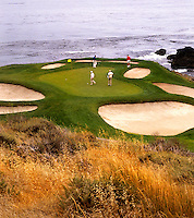 The famous Hole number 7 at the expensive Pebble Beach Golf Course in Pebble Beach California one of the most famous golf courses in the worl