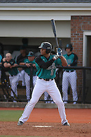Coastal Carolina Chanticleers outfielder Jacob May #1 at bat during a game against the University of Virginia Cavaliers at Watson Stadium at Vrooman Field on February 18, 2012 in Conway, SC.  Virginia defeated Coastal Carolina 9-3. (Robert Gurganus/Four Seam Images)