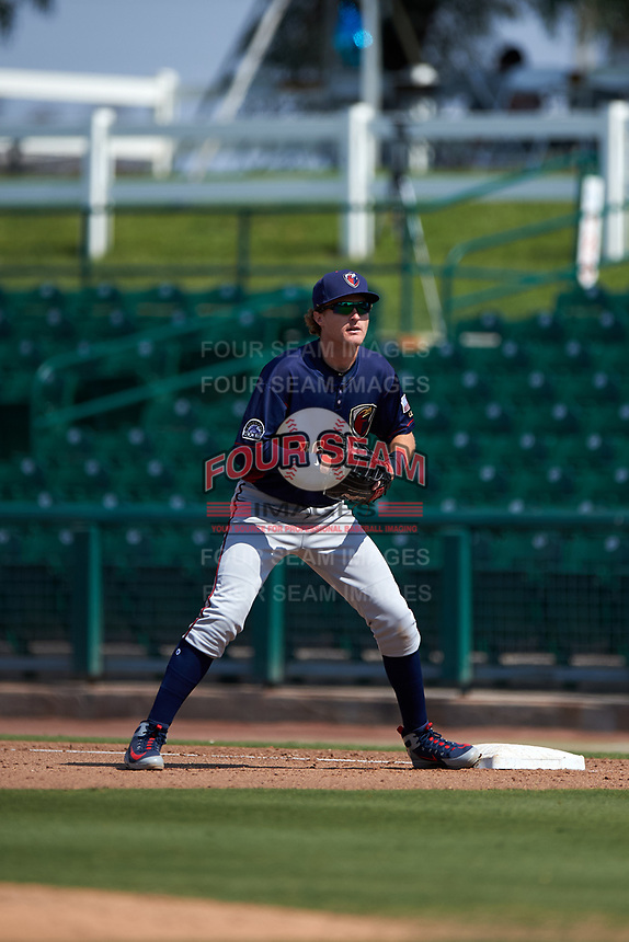 Lancaster JetHawks first baseman Tyler Nevin (16) during a California League game against the Inland Empire 66ers at San Manuel Stadium on May 20, 2018 in San Bernardino, California. Inland Empire defeated Lancaster 12-2. (Zachary Lucy/Four Seam Images)