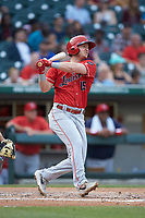 Josh VanMeter (15) of the Louisville Bats follows through on his swing against the Charlotte Hornets at BB&T BallPark on June 22, 2019 in Charlotte, North Carolina. The Hornets defeated the Bats 7-6. (Brian Westerholt/Four Seam Images)