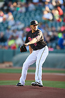 Salt Lake Bees starting pitcher Vicente Campos (53) delivers a pitch to the plate against the Iowa Cubs in Pacific Coast League action at Smith's Ballpark on May 13, 2017 in Salt Lake City, Utah. Salt Lake defeated Iowa  5-4. (Stephen Smith/Four Seam Images)