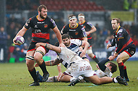 Robson Blake of Dragons is tackled during the European Challenge Cup match between Dragons and Bordeaux Begles at Rodney Parade, Newport, Wales, UK. 20 January 2018