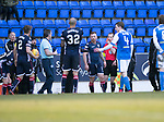 St Johnstone v Ross County…24.02.18…  McDiarmid Park    SPFL<br />Craig Curran is shown a red card by referee Willie Collum for shoving Steven MacLean<br />Picture by Graeme Hart. <br />Copyright Perthshire Picture Agency<br />Tel: 01738 623350  Mobile: 07990 594431